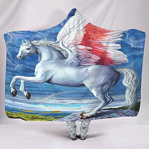 Nat Abra Magisches Pegasus-Regenbogen-Reines Pferd Mit Flügel-Grafik-Decken Modischer Weicher Warmer Vlies-Hauben-Poncho-Mantel-Kap-Teenager-Nickerchen