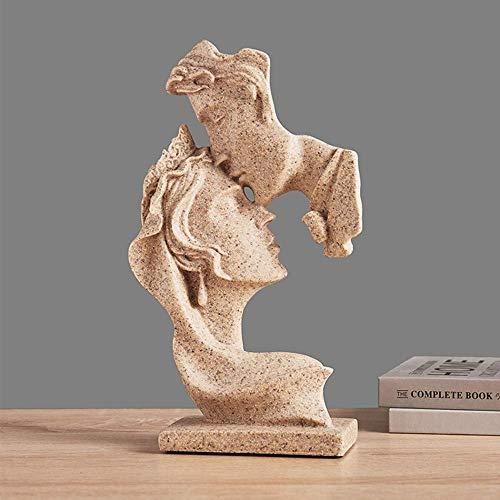 LIUSHI Estatua de Escultura, diseño de Arte de Moda, Resina Moderna, máscara de Beso, Estatua de Art déco Abstracto, máscara de Estatua, Oficina, decoración del hogar Retro, Regalo de Boda, escultu