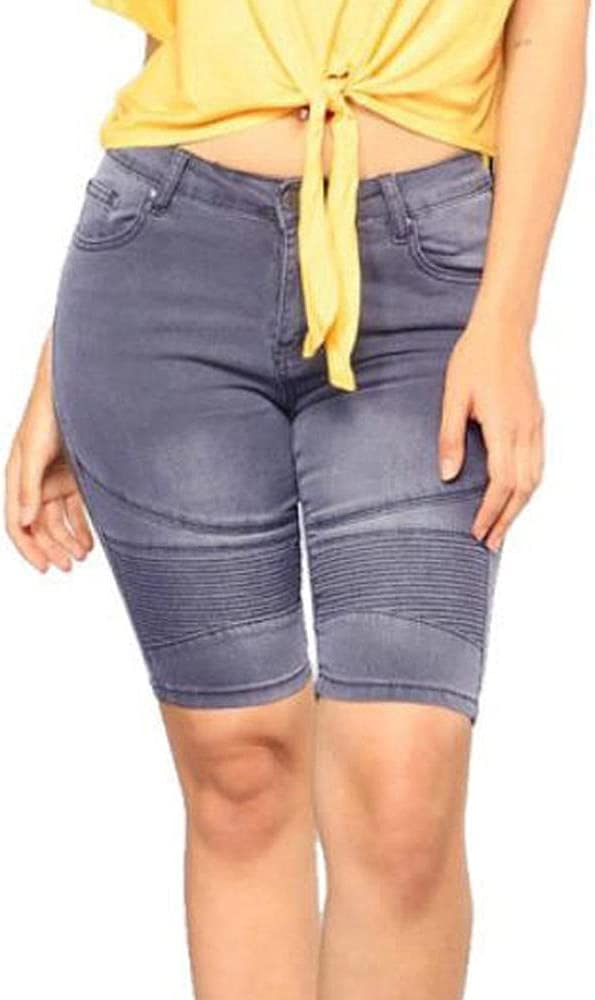 CDDKJDS High Waist Denim Shorts Women S Summer Long Shorts Jeans Stretchy Blue Knee Length Classic Five Point Shorts for Women (Color : Bodycon Shorts, Size : S)