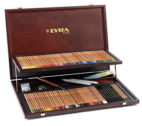 Lyra - Estuche de madera con 96 lápices de colores y accesorios;LYRA 2004200 Rembrandt Polycolor Holzkoffer Professional Künstlerfarbstifte Polycolor mit div. Zubehör, 105 Einzelteile