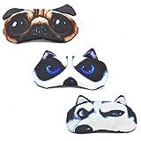 Cute Sleep Eye Mask for Sleeping Cartoon Dog Super Soft and Lightweight Eye Cover Blindfold Eyeshade for Men Women and Kid, 3 Pack