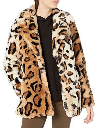 Steve Madden Women's Faux Fur Fashion Jacket, Cozy Leopard, S