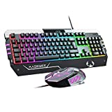 Anivia USB RGB Gaming Tastatur und Maus Combo, GT817 104 Tasten Regenbogen Tastatur und Maus Set, Gaming Tastatur und Maus Set,Computer Tastatur USB Kabel Maus für Windows PC Gamer (RGB Backlit)