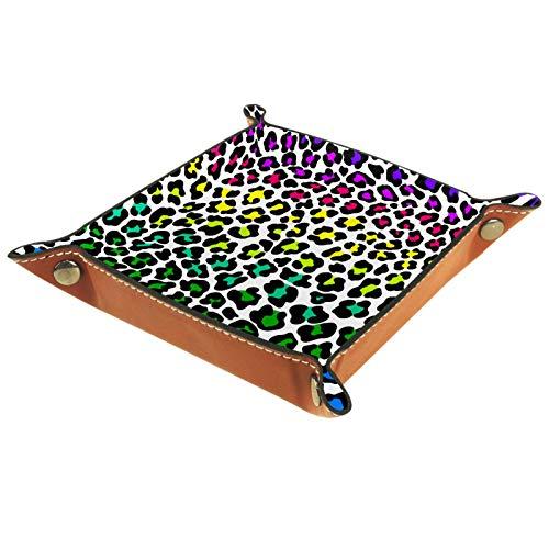 XiangHeFu Bandeja de Cuero Textura Abstracta de Jaguar Almacenamiento Bandeja Organizador Bandeja de Almacenamiento Multifunción de Piel para Relojes,Llaves,Teléfono,Monedas