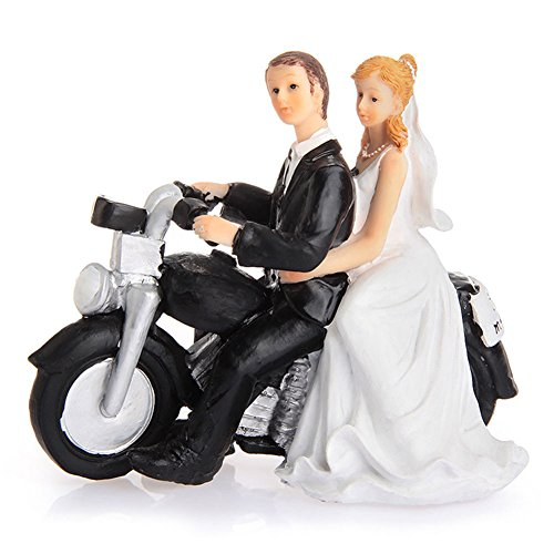 LinTimes Décoration de Gâteau de Mariage Couple Figurine en Résine Cake Quitter par Moto 13.5 * 5.5 * 12cm