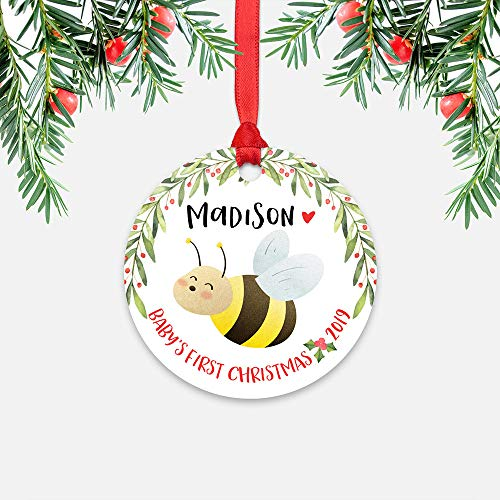 EricauBird Christmas Ornament-Honey Bee Baby's First Christmas Ornament Personalized for Boy Girl Name Baby Ornament 1st Cute Animal New Baby Gift, Home Decor