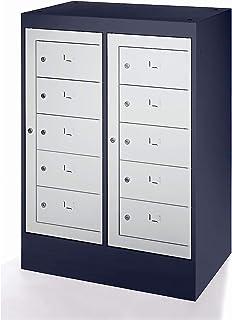 Armoire pour ordinateurs portables 10 compartiments, h x l 1115 x 782 mm (Gris/Noir)