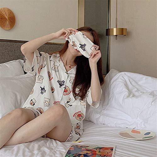 JFCDB Nachthemd Zomer katoenen pyjama sets brood Superman print dames sexy nachtkleding met korte mouwen en oogmasker Casual nachtkleding, beige, l
