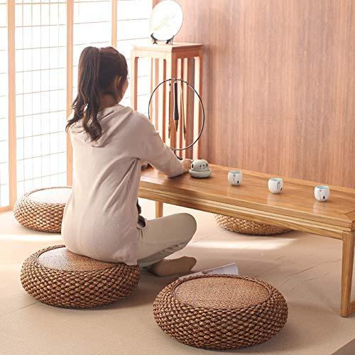 Mothinessto Cojín de Suelo de Tatami con Asiento Plano de Paja de Estilo japonés para Sala de Estar