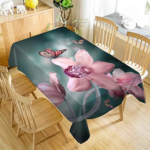 XXDD Tovaglia Fiore Orchidea tovaglia Antipolvere Lavabile tovaglia Rettangolare da Matrimonio per tovaglia Ristorante A17 140x200cm