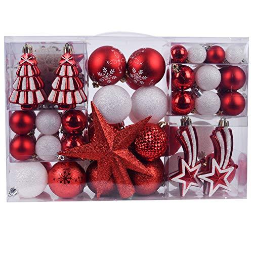 YILEEY Adornos de Navidad Decoracion Arboles de Navidad Bolas de Plastico, Blanco y Rojo, 108 Piezas en 14 Tipos, Caja de Bolas de Navidad de Plástico Inastillable con Percha, Adornos Decorativos