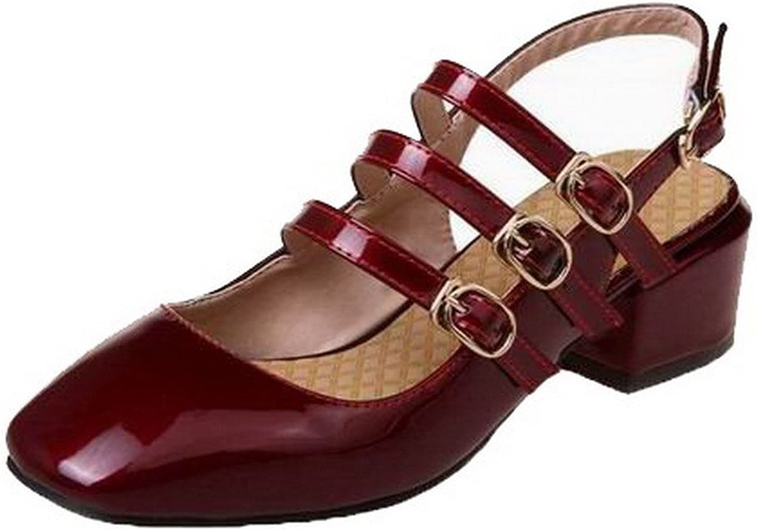 AmoonyFashion Women's Patent Leather Low-Heels Closed-Toe Solid Buckle Sandals, BUTLT006942