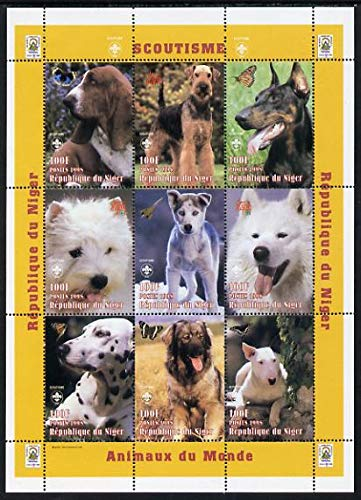 Niger Republic 1998 Animals of the World #4 (Dogs) perf sheetlet 9 x 100f values each with Scouts logo u/m Scott #1009 ANIMALS DOGS SCOUTS JandRStamps
