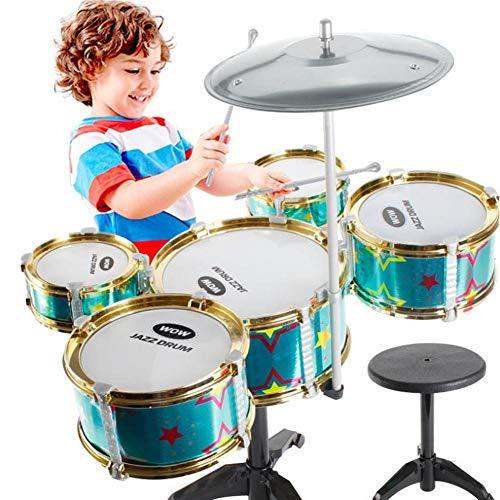 Beatie Tambor, Juguetes de iluminación de Tambores Infantiles, Tambor Grande para niños con Cinco Tambores y sillas, Simulacion bateria Jazz, Set de Instrumentos Musicales para niños