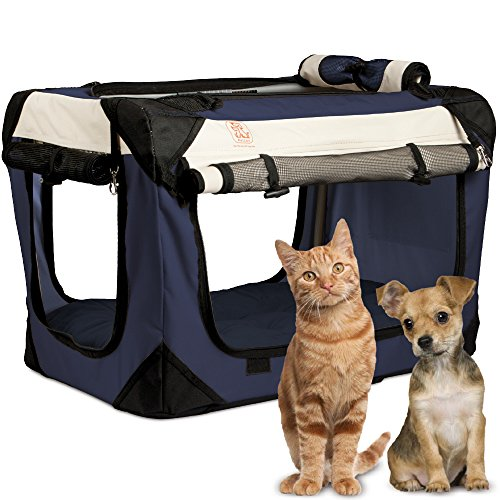 """PetLuv """"Tuf-Crate Premium Soft Dog Crate Foldable Top & Side Loading Pet Carrier - Locking Zippers Shoulder Straps Seat Belt Lock Nap Pillow Reduces Anxiety Basic Crates"""