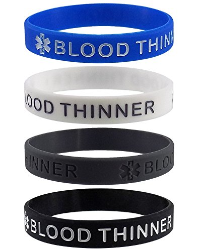 'BLOOD THINNER' Medical Alert ID Silicone Bracelet Wristbands 4 Pack