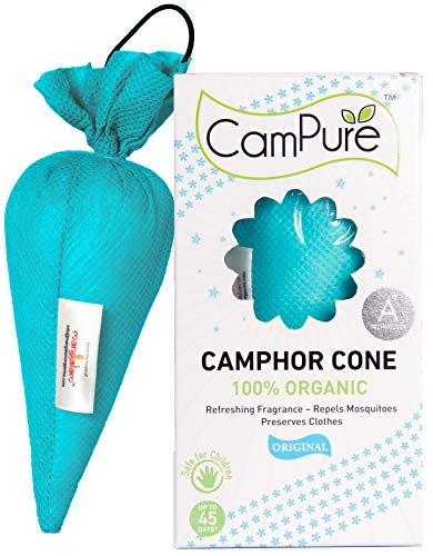 Mangalam Campure Original Camphor Cone - Room Freshener, Mosquito - Insect Repellent 60g (Pack...