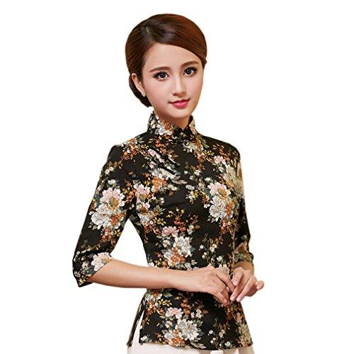 Yue Lian Damen Frauen Sommer Stehkragen Halfärmlig Qipao Stil Bluse mit druckte Muster (EU:40-China:XXL, Farbe 12)