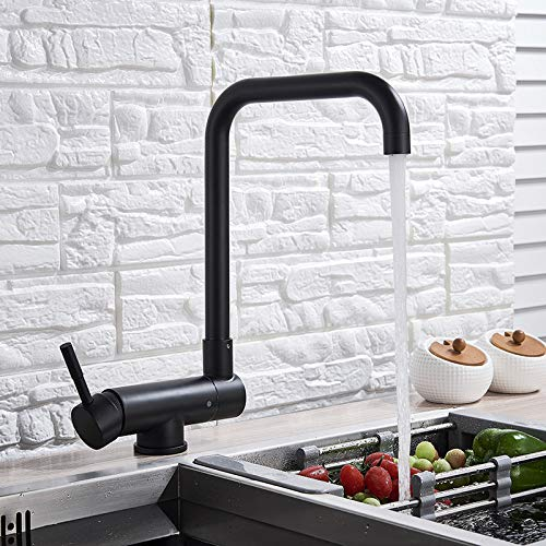 LCDIEB Grifo de la cocina Grifo giratorio de cocina negro, grifo de agua fría caliente plegable, grifo mezclador de cocina de ventana baja negra, manija única
