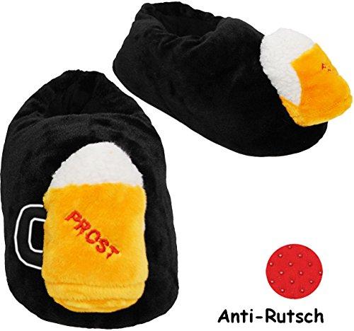 alles-meine.de GmbH Hausschuhe / Pantoffel -  Bierkrug  - Größe Gr. 43 - 44 - 45 - 46 - 47 - 48 __ schön warm __ Plüschhausschuh / Bierglas / Maßkrug - Humpen - für Kinder & Er..