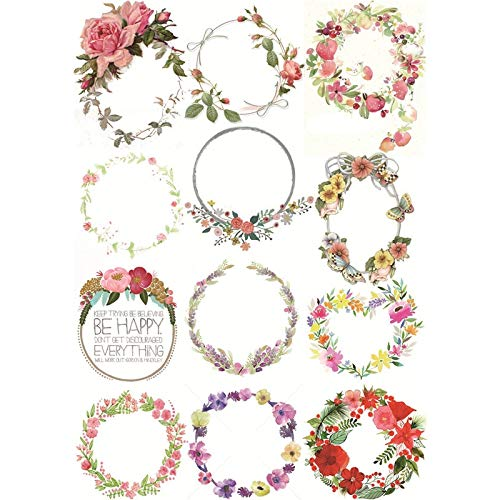 2 pcs/lot Garland Floral Label DIY Decoration Uncut Paper Aesthetic Sticker Stationery Scrapbook Diary Planner Stickers