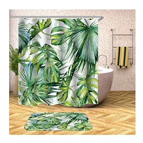 Knbob Polyester Duschvorhang und Badteppich Set Pflanze Blätter Bad Vorhang Badvorleger 120x180CM mit 12 Duschvorhangringen