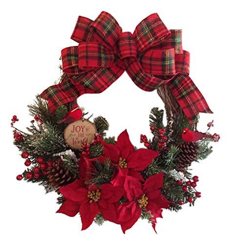 ShaggyDogz Christmas Vine Circle, Red Flower Decoration Wreath Door Hanger, Christmas Decoration Garland(B,1PC,11.8inch)