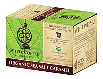 White Coffee Organic Single Serve Coffee, Sea Salt Caramel, 10 Count