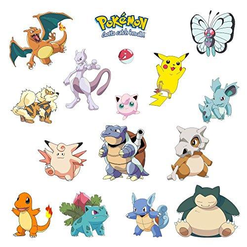 Kibi Pokemon Aufkleber | Pikachu Wandtattoo für Kinder Wandtattoo Pokémon Pikachu Wandsticker Wandaufkleber Wanddeko für Kinderzimmer Babyzimmer
