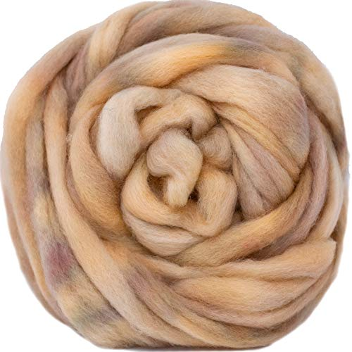 Wool Roving Hand Dyed. Super Soft BFL Combed Top Pre-Drafted for Easy Hand Spinning. Artisanal Craft Fiber ideal for Felting, Weaving, Wall Hangings and Embellishments. 1 Ounce. Champagne