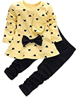Kid's Long Sleeves Cute Heart Pattern T Shirt Tops with Bow Tie + Pants Set 2 Pieces Outfit Suit For Toddler Baby & Little Girls, Yellow, Age 12-18 Months = Tag 80