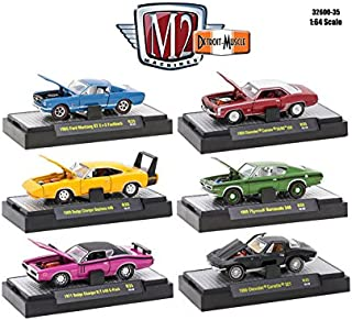 M2 Machines Detroit Muscle 6 Cars Set Release 35 in Display Cases 1/64 32600-35