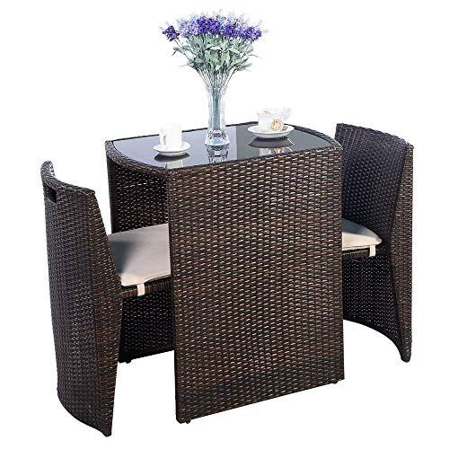 Tables chaise en osier de jardin en rotin et des chaises, simple siège de carte de loisirs for un rangement facile de 3 pièces de rallye terrasse rembourré bistro jardin ensemble canapé meubles de jar
