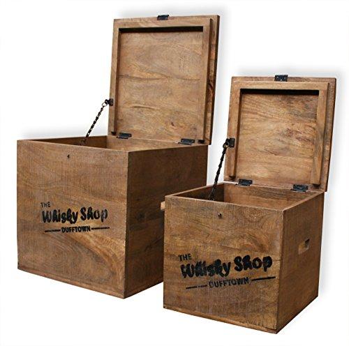 """KMH® 2tlg. Truhenset """"Whisky Shop"""" aus Mangoholz, 40x40x40,5cm und 30x30x30,5cm - 3"""