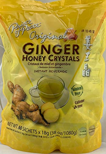 Instant Ginger Honey Crystals Family Value Pack 60 Sachets 18g per Sachets ( Total 38oz/ 1080g ) By Prince of Peace