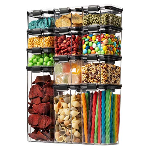 12 Pack Airtight Food Storage Container Set - Kitchen & Pantry Organization Containers - BPA Free Clear Plastic Kitchen and Pantry Organization Containers