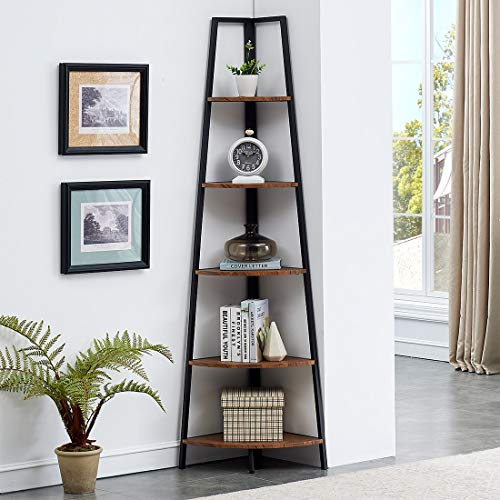 O&K FURNITURE Industrial Tall Corner Bookshelf, 5 Tier Corner Display Unit Shelves, Brown Finish