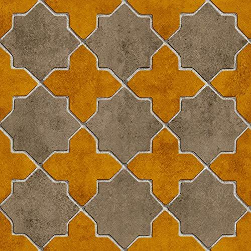 Vliesbehang Tegeltjes behang Tegel behang Beige/Creme Geel 374212 37421-2 A.S. Création New Walls | Beige/Creme/Geel | Rol (10,05 x 0,53 m) = 5,33 m²