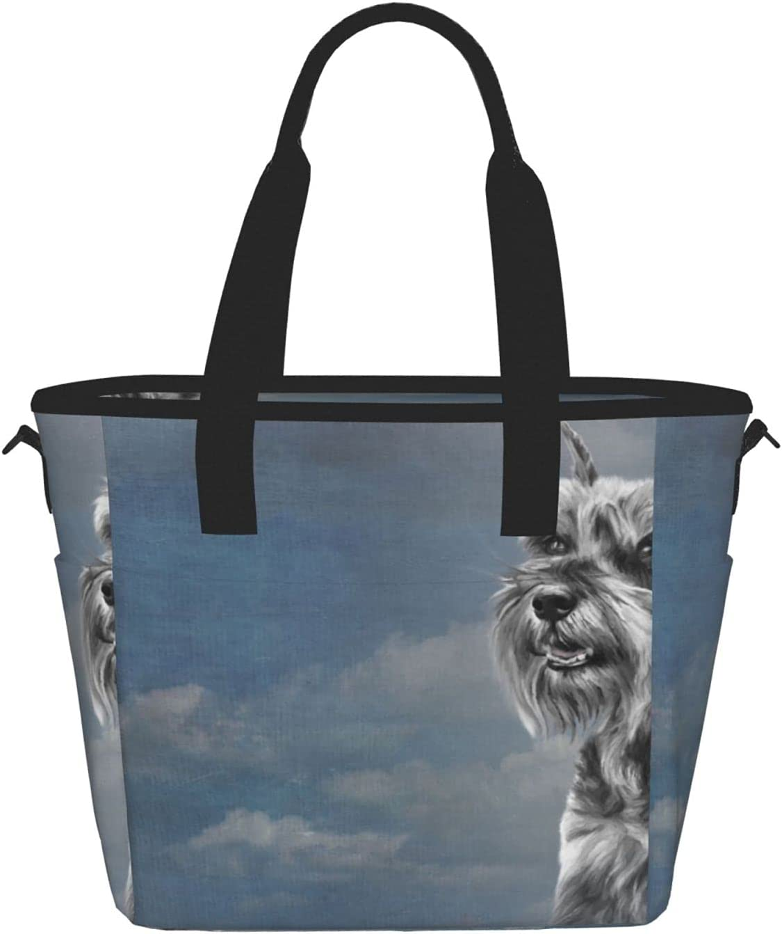 Drawing Miniature Schnauzer Dog Reusable Lunch Max 76% OFF Insulated Ba Time sale Tote