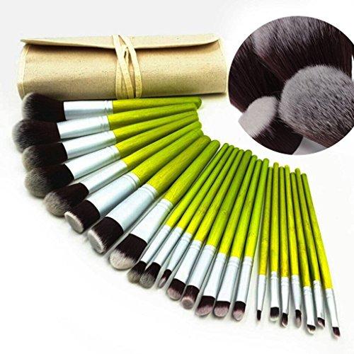Tinabless 23pcs Maquillage Pinceaux Set - Bambou Pro Concealer Make Up Brush Kit - Beauté Fond de Teint Visage Poudre Sourcil Eyeliner Blush Correcteur Bronzante Contour Des Yeux Ombre Brosses Pouch