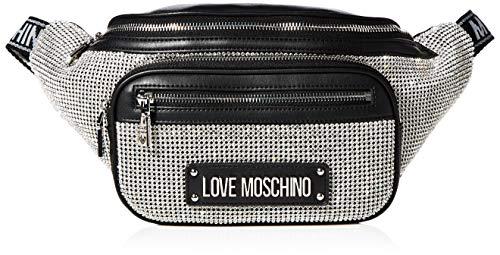 Love Moschino Damen Jc4049pp1a Umhängetasche, Silber (Argento Nero), 9x17x36 centimeters