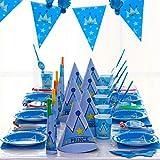 PRETYZOOM Juego de Vajilla para Fiesta Diseño de Corona Vajilla Desechable Azul...
