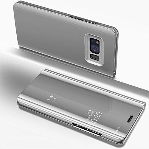 Etsue Miroir Coque Compatible avec Samsung Galaxy S8 Clear View Miroir Flip Case Cover Portefeuille PU Cuir + Miroir Complet Protecteur étui Support Coque à Rabat Magnétique Smart Case Coque Housse