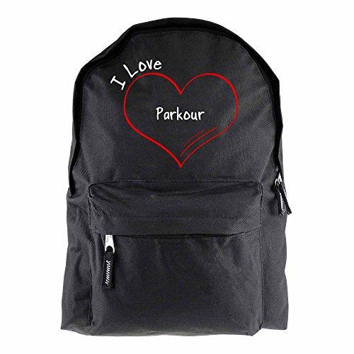 Rucksack Modern I Love Parkour schwarz - Lustig Witzig Sprüche Party Tasche