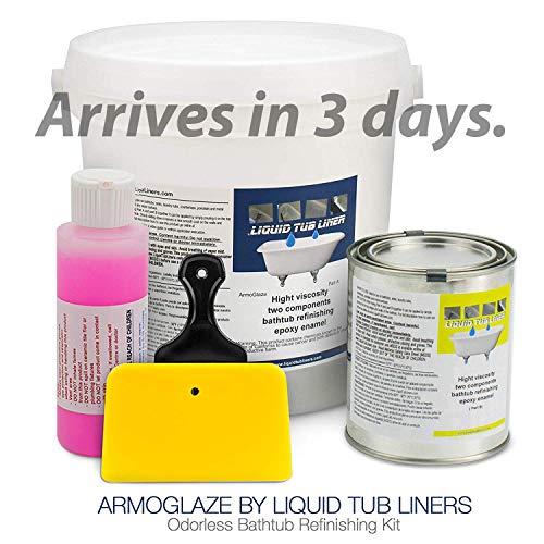 ArmoGlaze Bathtub Refinishing Kit - Easy Pour-On Application - Mirror Like Finish - White - Made in USA