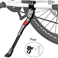 ZFYQ Pata de Cabra para Bicicleta, Aluminio Soporte Ajustable del Retroceso de Bici Caballete Bicicleta con Llave Hexagonal y Campana De Bicicleta
