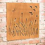 Dekoleidenschaft Wandbild Wiese aus Metall in Rost Optik, 58x58 cm, Gräser & Schmetterlinge, Gartendeko