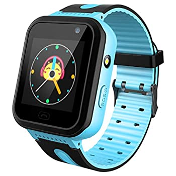 Kids Waterproof Smart Watch Touch Screen Smartwatch with AGPS/LBS Tracker Voice Chat SOS Anti-Lost Calling Phone Watches for 3-12 Year Old Boys Girls Birthday Gift Compatible with iOS Android.…