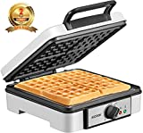 1200W Belgian Waffle Maker Aicook, 4-Slice Waffle Maker With Temperature Control, Phenolic Anti-scald Plastic, With Indicator Light, Non-Stick Coating And Wire Storage
