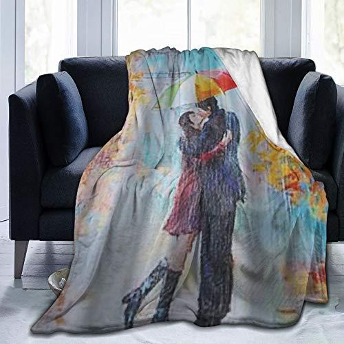 KOSALAER Bedding Manta,Diseño romántico de la Pintura al óleo de los Amantes de París de la Estrella Colorida,Mantas cálidas de Sala de Estar/Dormitorio Ultra Suaves para Todas Las Estaciones